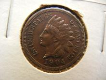 217. 1904 Indian Head Penny wit 4 Full Diamonds in the Head Band