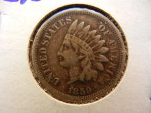 273. 1859 Indian Head Penny with full liberty and rims