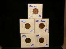 298. Better date Indian Head Pennies dated 1864, 1873, 1874, 1860cn, and 1873