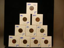 306. 10 Indian head Pennies includes 1865 and 1879 in this lot