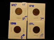 315. 1857 Flying eagle Penny plus 1896, 1878, and 1898 indian head pennies