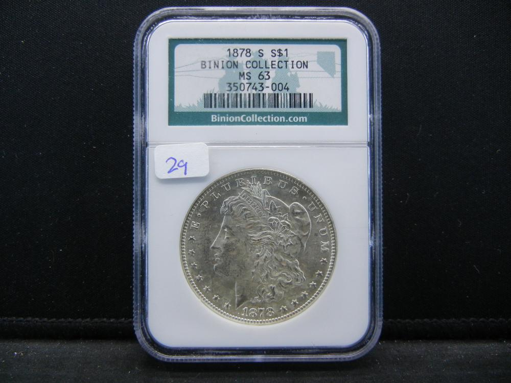 1878-S Morgan Dollar.   From the Binion Collection.   Slabbed MS 63 by NGC, one of the best.