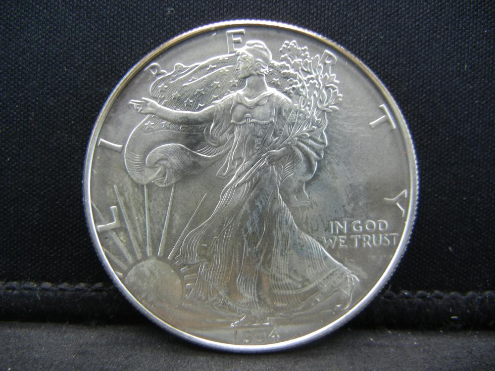 1994 Uncirculated Silver American Eagle Issued by the United States Mint.
