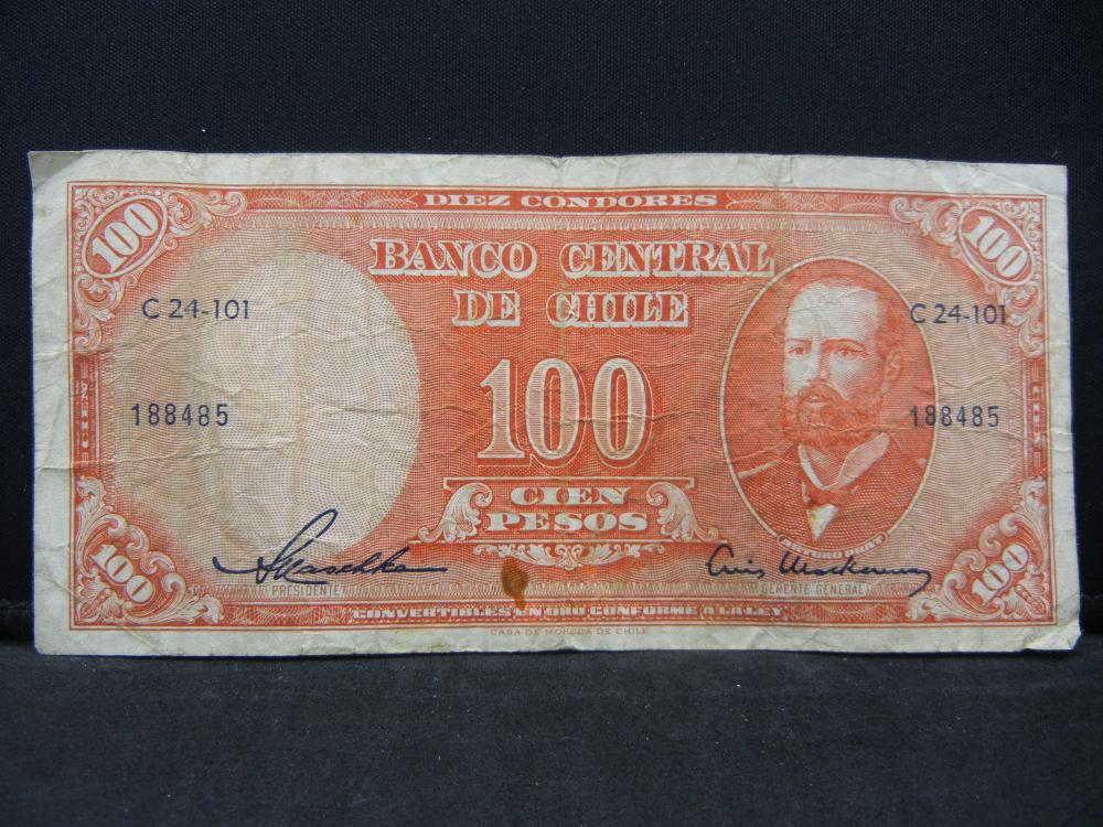 1947 Chile 100 Pesos Bank Note.  Serial # C24-101 188485