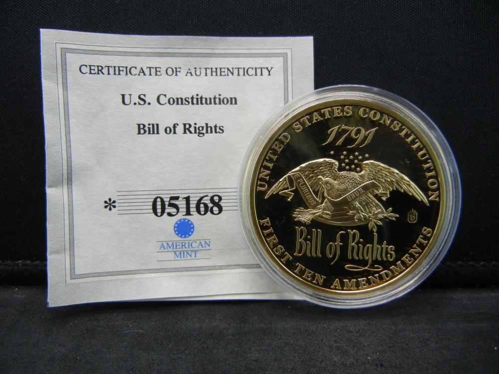 1791 U.S. Constitution Bill of Rights 1st Amendment Medal W/COA.  Issued by American Mint.