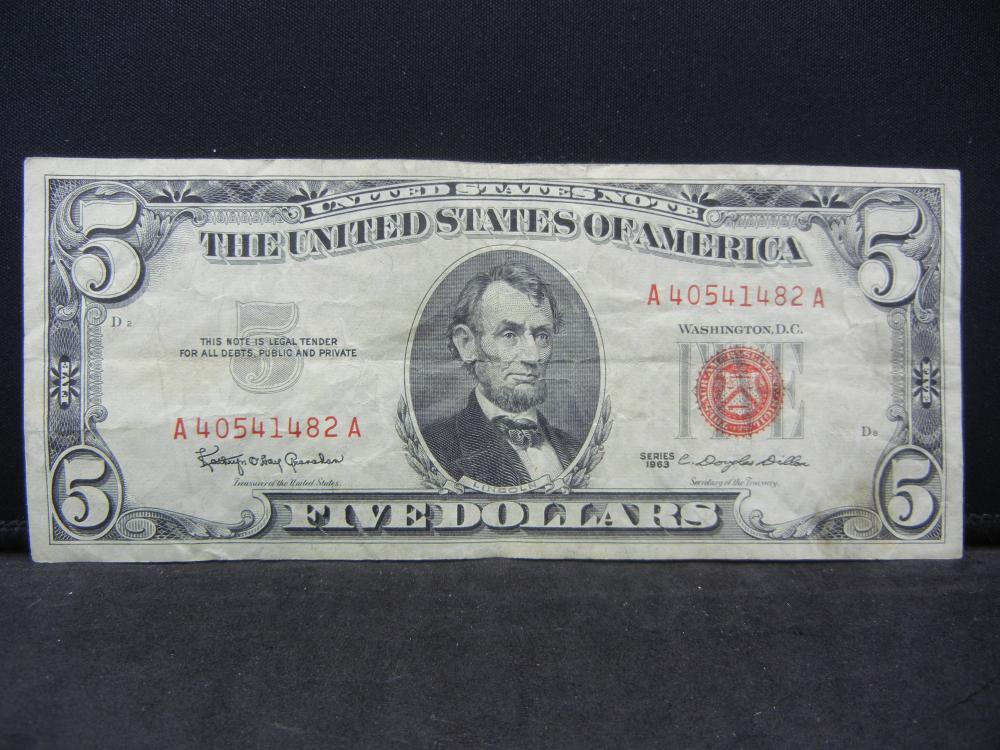 1963 $5 Red Seal United States Note. Serial # A40541482A