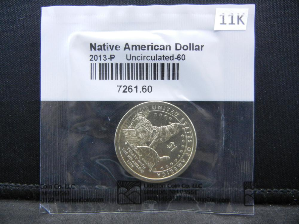 2013 Sacawagea Dollar Graded Uncirculated by Littleton Coin Co.  Wolf, Turkey, Turtle Reverse.