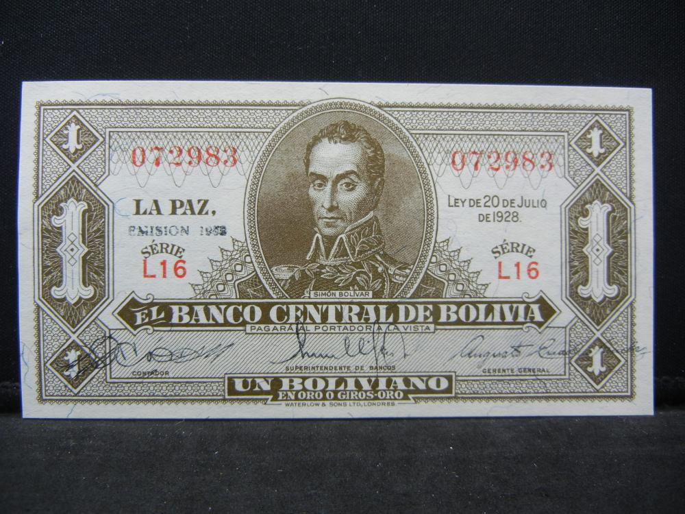 1928 Bolivia 1 Boliviano Bank Note.  Serial # 072983