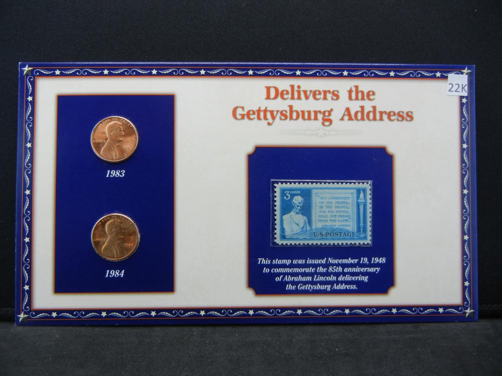 1983 1984 Lincoln Cents and Stamp Set Remembering Lincoln Delivers the Gettysburg Address.