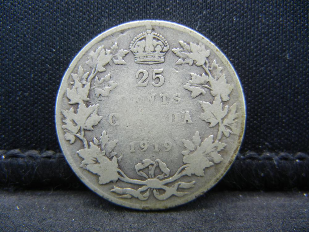 1919 Canada Sterling Silver (92.5%) Quarter.  Coin Weighs 0.18 Troy Ounce.