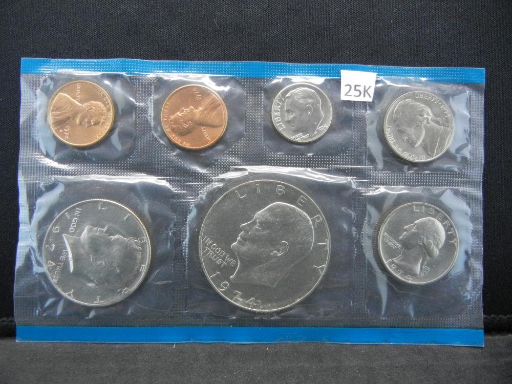 1974 Philadelphia Mint 7 Coin Set Issued By The United States Mint.