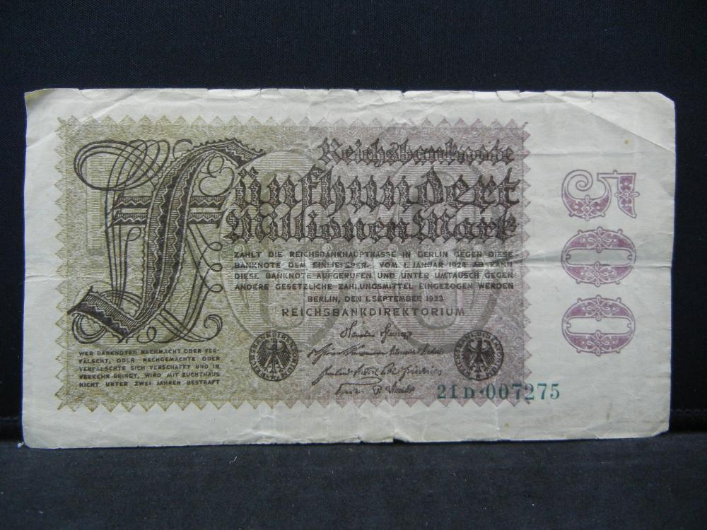 1923 Germany 500 Million Reichsbanknote, Serial # 21D 007275