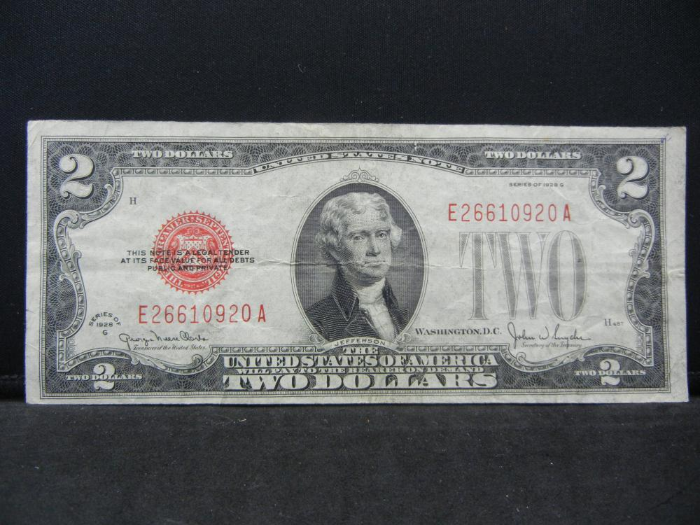 1928-G $2 Red Seal United States Note, Serial # E26610920A