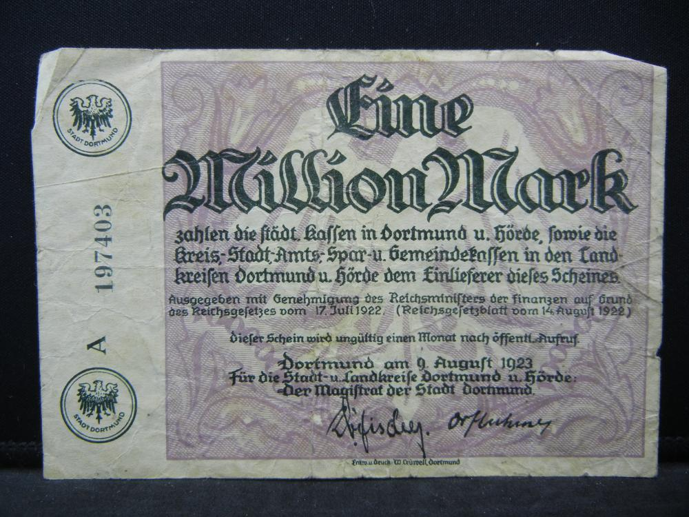 1923 Germany 1 Million Mark, Serial # A197403