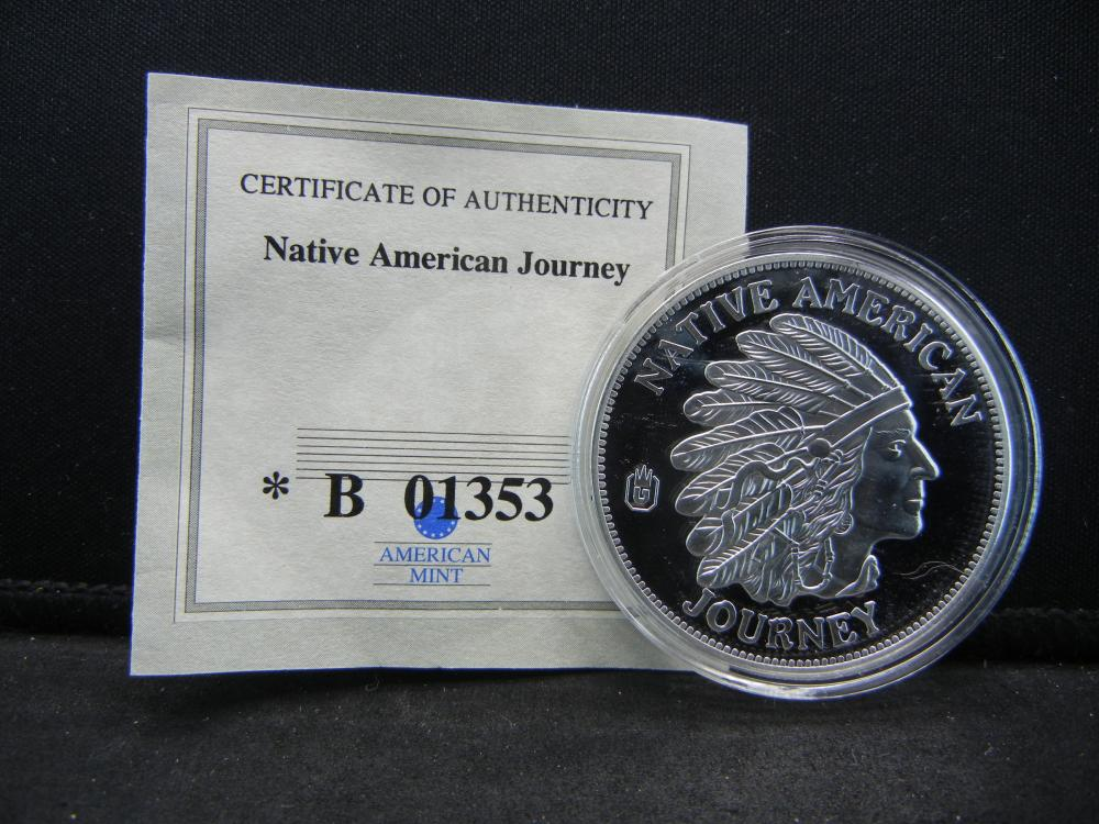 "Native American ""Remain Close to the Great Spirit"" Commemorative Medal.  Issued by American Mint."