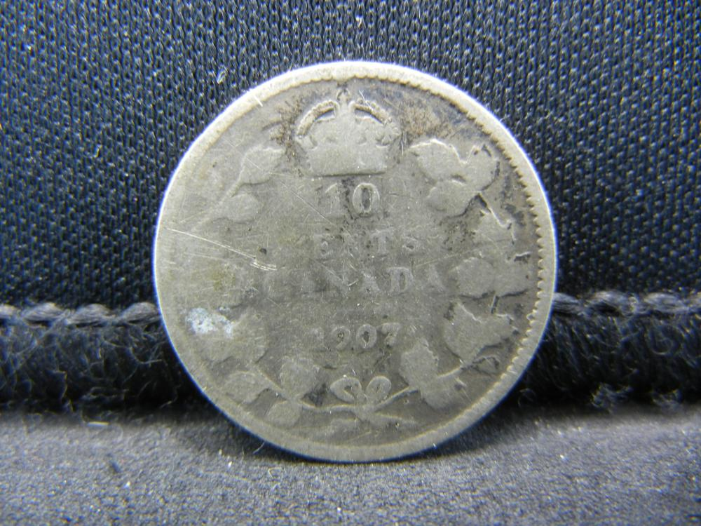 1907 Canada Sterling (92.5%) Silver Ten Cents, Weighs 0.07 Troy Ounce.