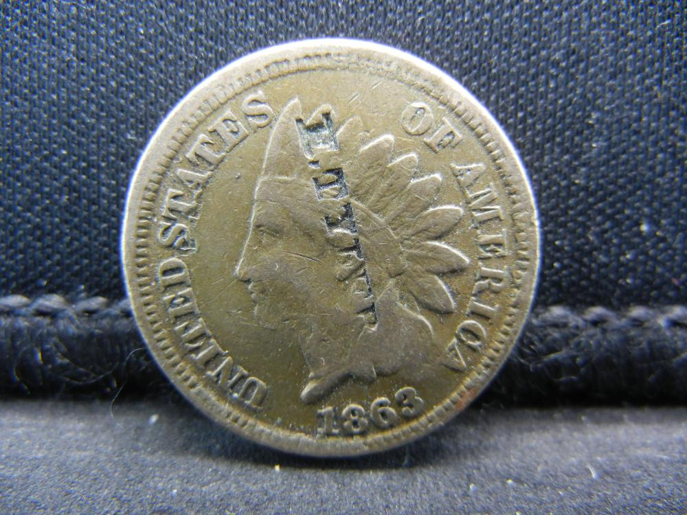 "1863 Indian Head Cent ""E. TYLER"" Counterstamp.  Civil War Year."