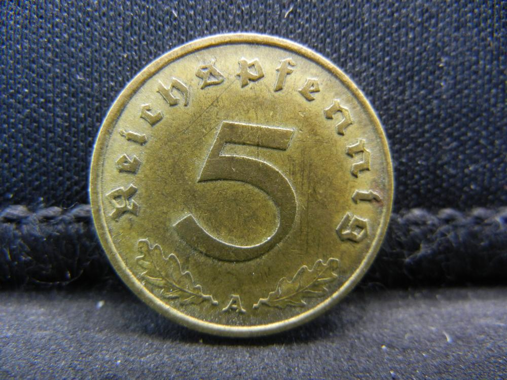 "1938-A German Deutsch Reich 5 Pfennig ""Swastica"" Coin."