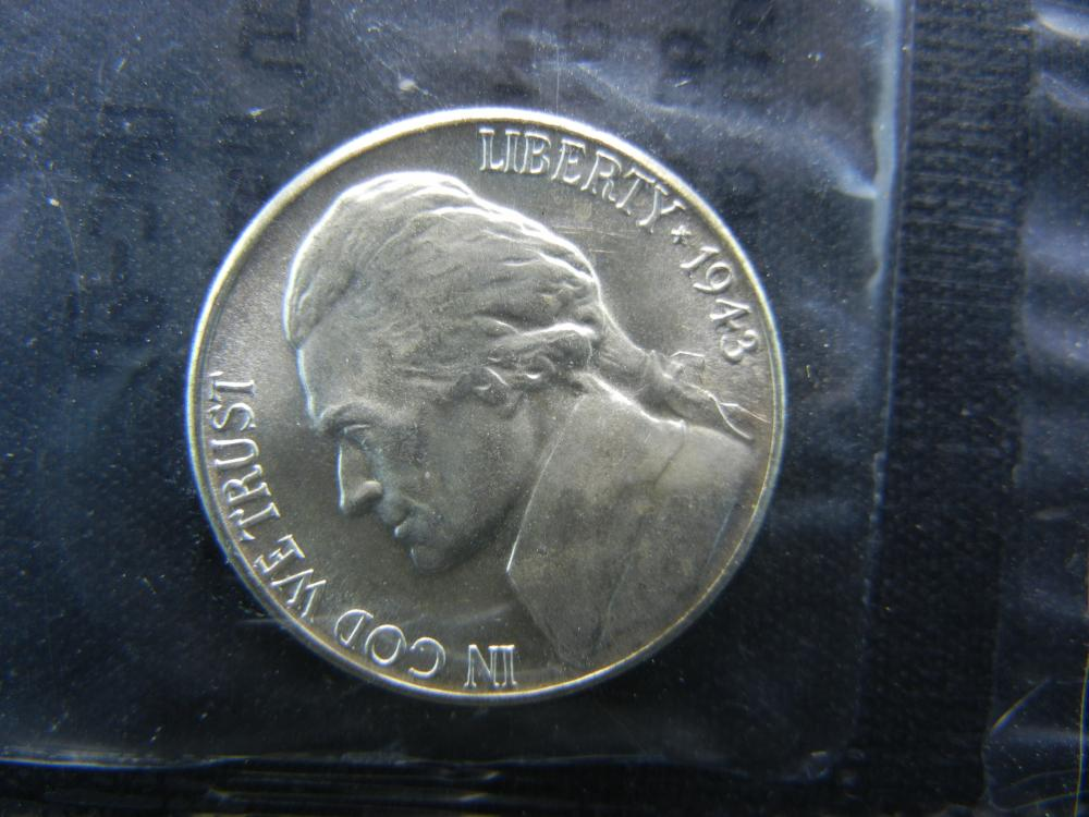 1943-S Jefferson War Nickel Graded Uncirculated by Littleton Coin Co. in Cellophane.