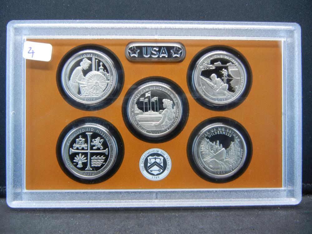 (5) GEM Proof 2019 Clad Parks Quarters:  Lowell, American. Pacific, Missions, and River of No Return.   In Mint Holder.   GEMS.
