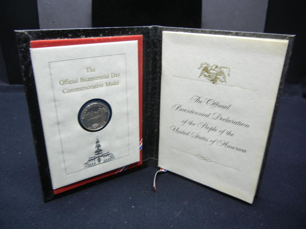 Official Bicentennial Day Commemorative Sterling Medal in neat folder with signatures of President, Vice, Cabinet, Senate, and House.