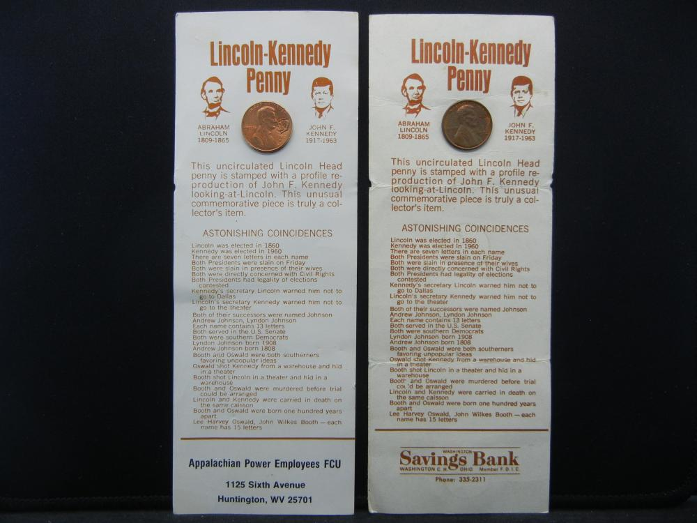(2) Lincoln/Kennedy Pennys.    Astonishing Coincidences between the two men.  BU.