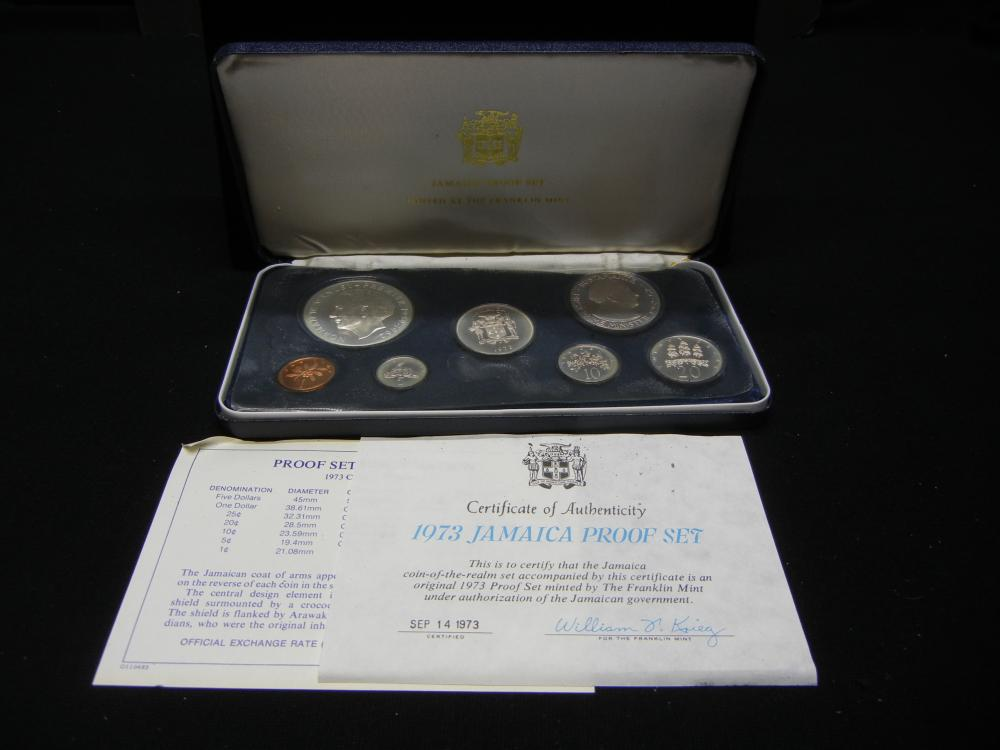 1973 Jamaica Pro0f Set.   Seven coins with the $5 being 45 MM and .925 silver.  GEM.
