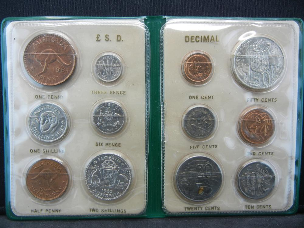 Australia Changeover Set.   Classic British system to decimal.   Five silver coins: 3P, 6P, Shilling, 2 Shilling, and 50 Cents.  All Brilliant Uncirculated.  Really great set.