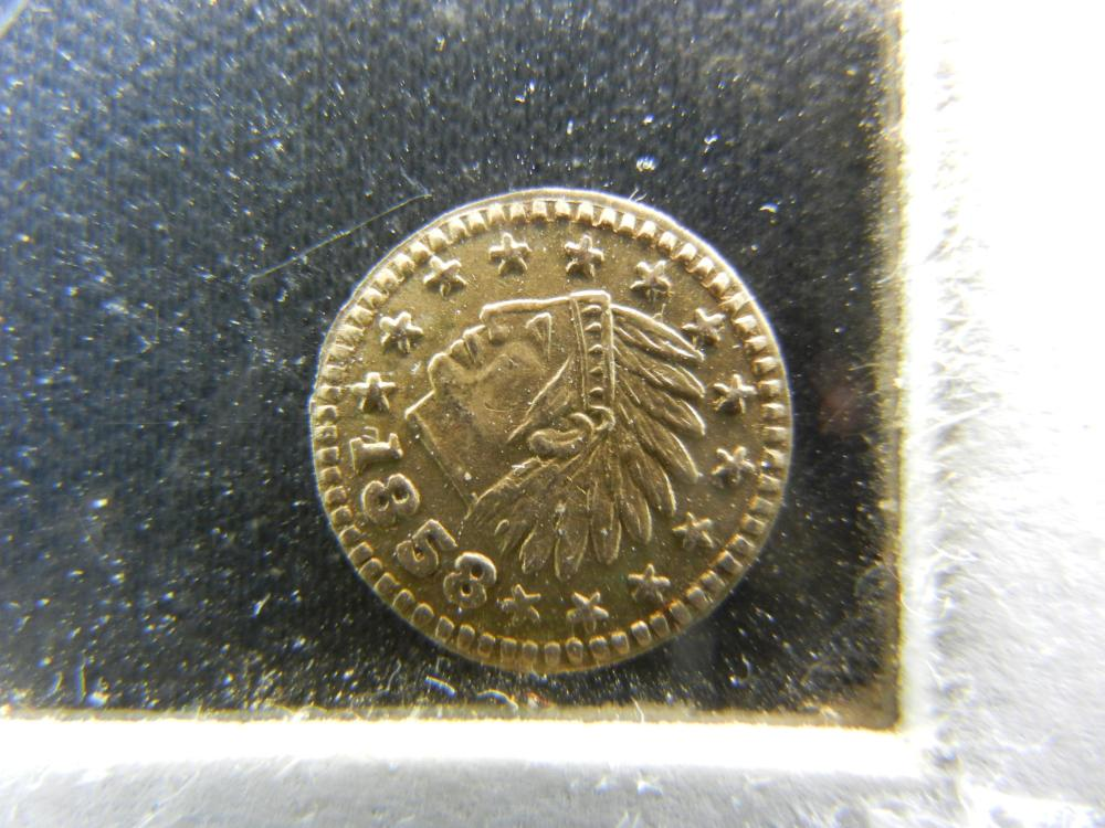 1858 Gold Enhanced California Gold Quarter.