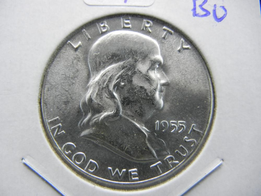 1955 Franklin Half.   Key Date.   Very choice Brilliant Uncirculated.