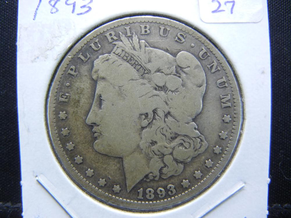 RARITY alert.   1893 Morgan Dollar.   Original Very Good.