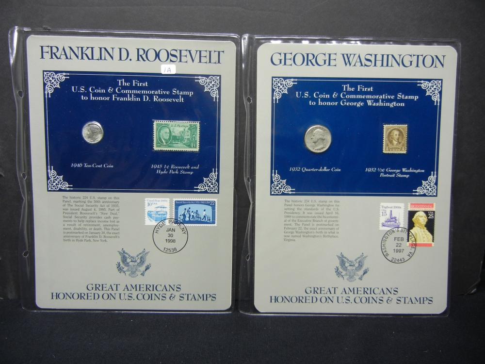 Great American Coins and Stamps.  1946 (BU) Roosevelt and 1932 Washington Silvers.