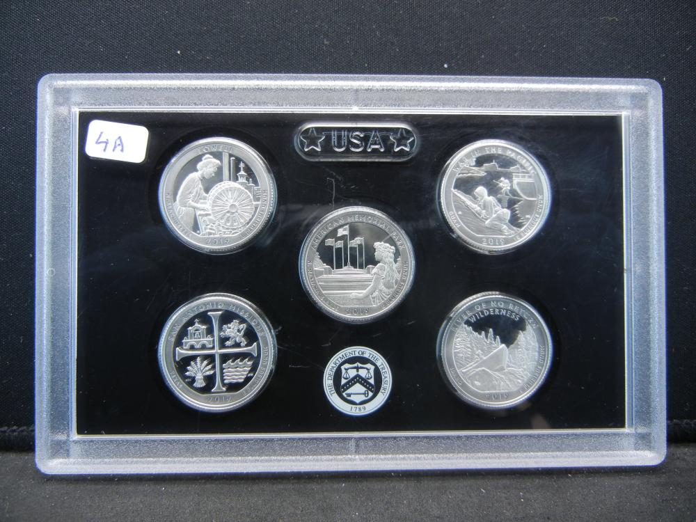 (5) GEM Proof 2019 Silver Parks Quarters: Lowell, American. Pacific, Missions, and River of No Return.   In Mint Holder.  GEMS.