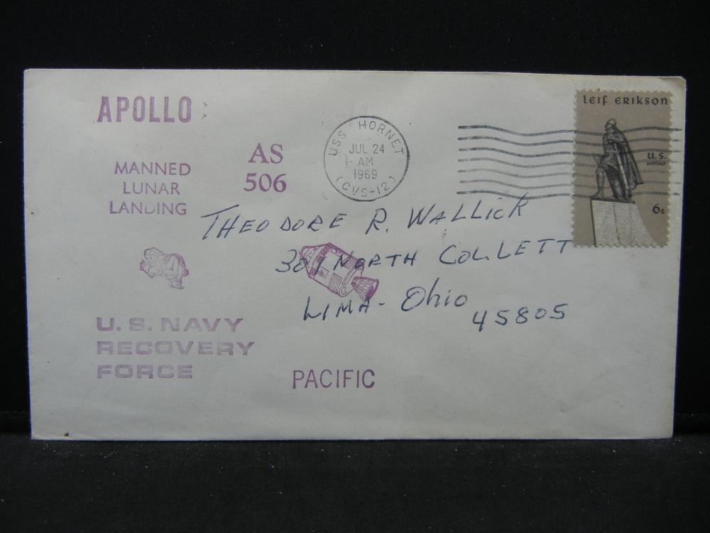 Super Apollo 11 Cover from the U.S. Navy Recovery Force in the Pacific.  Dated Jul 24, 1969.