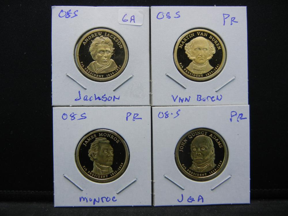 The 2008-S Presidential Coin Set:  JQA, Monroe, Jackson, and Van Buren.  GEM Proof