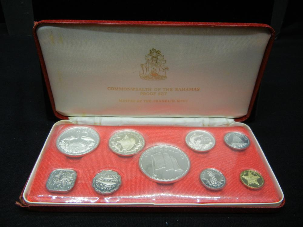 1975 Bahamas Pro0f Set.   Nine coins with the $5, $2. $1 and 50 Cents beomg.925 silver.  Almost three ounces of silver.  GEM.