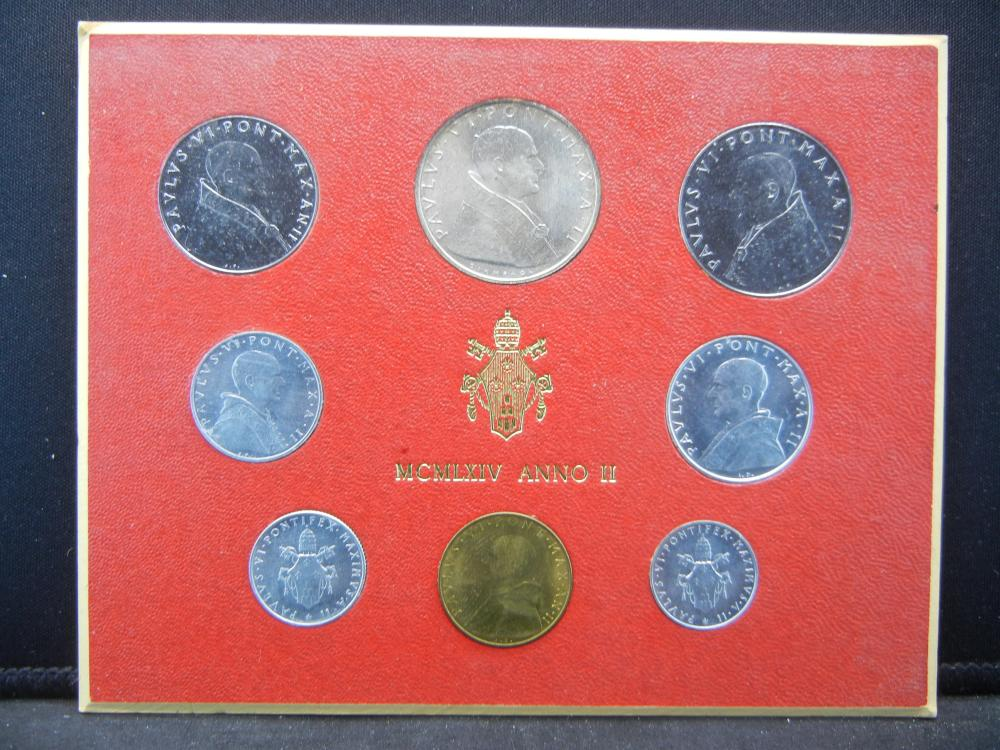 1964 Vatican Mint Set with silver 500 Lire.  Pope Paul VI.  Original Card.   Nice.