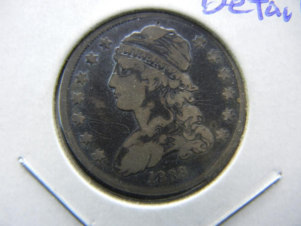 1838 Capped Bust Quarter.   Fine detail.   Toned.