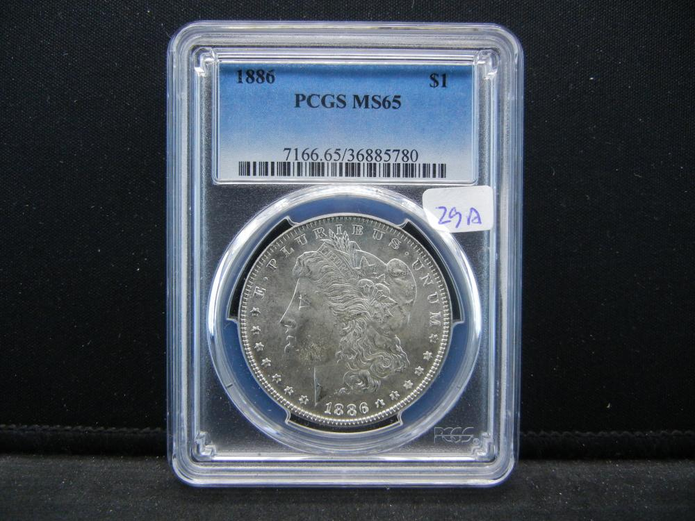 1886 Morgan Dollar.   Slabbed MS 65 investment grade by PCGS, the best