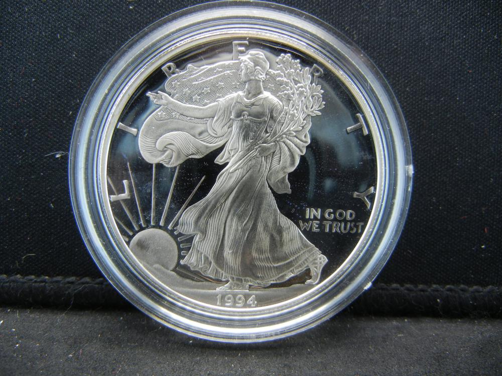 1994 Proof American Silver eagle with COA
