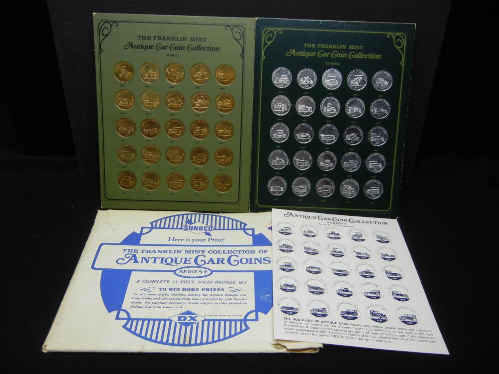 Franklin Mint Antique Car Coin Collection Series 1 and 2
