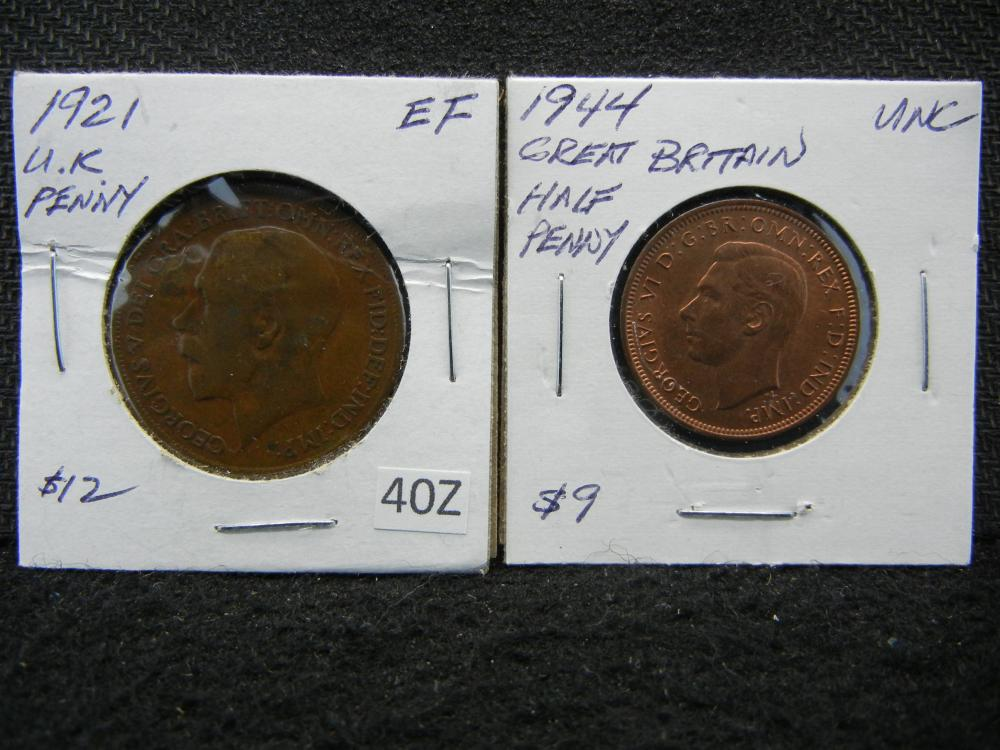 1921 British One Penny & 1944 British Half Penny