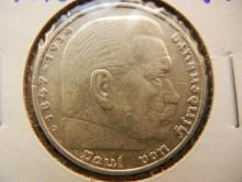 1936-D silver 5 Marks German coin with swastika