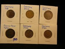 German coin lot includes beer token, and coins dated 1949, 1969, 1918, 1924, and 1950