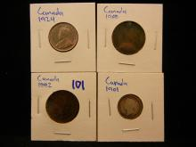 Canadian coin lot includes 1901 silver 5 cent piece, 1924 nickel, 1882 penny with Queen Victoria, and 1908 penny