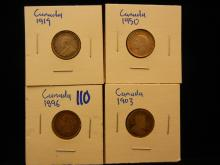 Canadian dime collection includes 1896, 1903, 1919, and 1950,