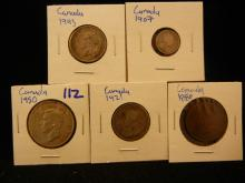 Canadian coin lot includes 1907 5 cent silver, 1943 quarter, 1921 quarter, 1884 penny, and 1950 half dollar