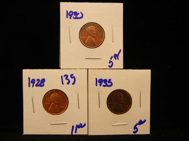 Sharp 1928, 1935, and 1930 Wheat pennies