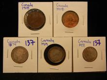 Canadian coin lot 1931 Canadian nickel, 1919 quarter, 1874 quarter, plus 2 1908 pennies
