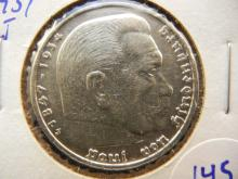 1937 J silver, German 5 mark coin with swastika from Munich.